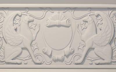 Барельеф с грифонами. Коммерческий проект. Модель выполнена для визулизации и фрезеровки на станке с ЧПУ по заказу Карелина С. 2015 год.